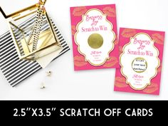 Win Free Stuff, Scratch Off Cards, Note Cards, Pink And Gold, Stationery, Graphic Design, Birthday, Collection, Stationeries