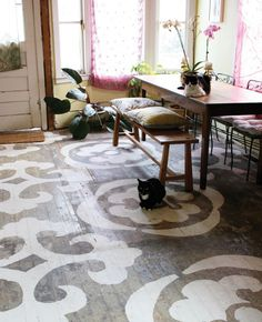 I LOVE this rustic floor dress-up with custom, homemade stencils.  An elegant way to dress-up not so perfect floors. #springintothedream