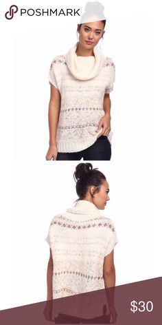FREE PEOPLE Snow Bunny Turtle Neck Sweater Vest Superbly soft wool blend sweater features a classic Fair Isle design and a textured fabrication. Fair Used Condition. Draped turtleneck and short sleeves. Pull-on design flaunts a relaxed silhouette. Ribbed trim. Straight hemline. 66% acrylic, 27% wool, 1% alpaca, 7% other fibers. Hand wash cold, dry flat. Imported. Size: S Measurements: Length: 27 inches Free People Sweaters Cowl & Turtlenecks