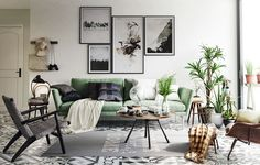casual layered living room, black and white with a pop of green