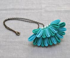 Peacock Tail Fabric Origami Necklace by Chomel
