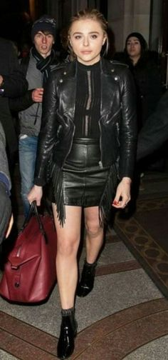 890463870a74 Chloe Moretz wearing Saint Laurent Classic Leather Jacket
