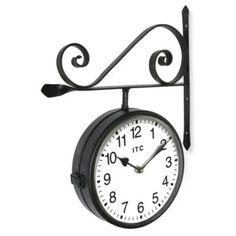 Infinity Instruments Double-Sided Metal Railway Station Clock - BedBathandBeyond.com