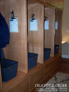 cubbies for each family member... i should have daddy build these somewhere in our house!
