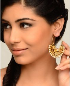 Chand Hoop Earrings with Pearls