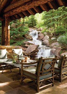 mountain home outdoor living room with a waterfall Cabin Homes, Log Homes, Outdoor Rooms, Outdoor Living, Outdoor Furniture, Rustic Furniture, Modern Furniture, Outdoor Retreat, Antique Furniture