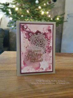 Stampin Up Flockenzauber Weihnachtskarte in Himbeerrot, Kirschblüte und Brombeermousse