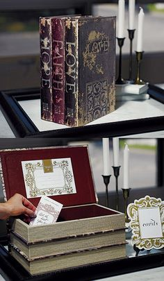 Stacked Antique Book Guest Book Alternative Wishing Well. Fun alt to traditional guestbook. #Weddings Daisy-Days