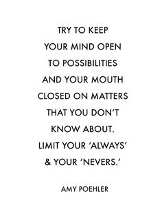 limit your always and your nevers