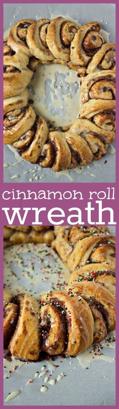 Cinnamon Roll Wreath - A fun, new way to serve a plate of cinnamon rolls. Your guests will go crazy for the presentation, as well as the taste of these cinnamon rolls!