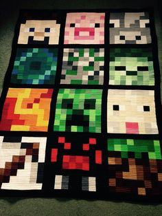 "Twin bed quilt finished item 56""x66"" minecraft"