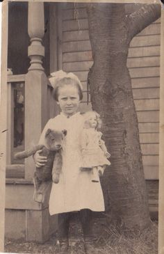 RPPC Young Girl with Teddy Bear and Doll $5
