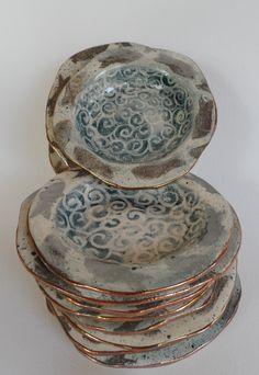 dessert bowls silver lustre fish and bronze lustre rims ceramic, earthenware, wax resist Dessert Bowls, Earthenware, Mosaic, Wax, Decorative Boxes, Porcelain, Bronze, Fish, Ceramics