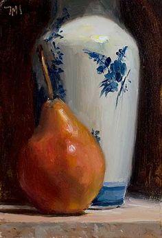 Red pear with Delft vase, Julian Merrow-Smith Still Life Painting, Pear Art, Lovers Art, Still Life, Still Life Art, Painting, Oil Painting, Art, Fruit Art