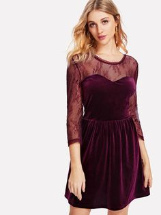 1163795371 Floral Lace Sweetheart Velvet Dress -SheIn(Sheinside) Dress Skirt, Skater  Dress,