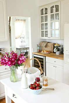 french country kitchen- love bench tops, sink skirt, bright and fresh appeal for mom & dad Kitchen Inspirations, Beautiful Kitchens, Interior, French Country Kitchen, Home Remodeling, Kitchen Redo, Country Kitchen, Sweet Home, Home Kitchens