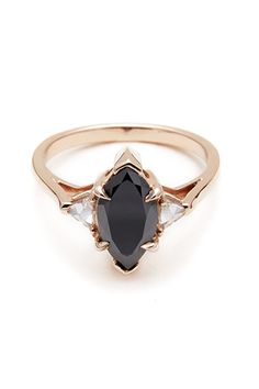Anna Sheffield Black Diamond Marquis Bea Ring