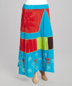 Another great find on #zulily! Blue & Red Patchwork Maxi Skirt - Plus by Rising International #zulilyfinds