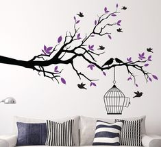tree branch with bird cage wall sticker for living area