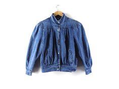 Vintage 80s Puff Sleeve Denim / Jean Jacket - Spring Fall Light - Blue - Snap Up - Mandarin Collar - Yoke - Pockets - Retro L Large by Iterations on Etsy