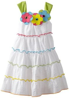 Rare Editions Little Girls' Tiered Seersucker Dress, White, Fashion Kids, Toddler Fashion, Little Girl Skirts, Little Girls, Kids Dress Patterns, Amazon Clothes, Baby Dress Design, Sewing Kids Clothes, Seersucker Dress