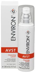 Environ® AVST Cleansing Lotion is a highly efficient non-foaming cleanser. This technically advanced formula gently and effectively removes make up, surface impurities and environmental pollutants from the skin. It conditions and assists to maintain the natural acid balance of the skin, leaving the skin feeling refreshed and soft. The product is mildly fragranced.
