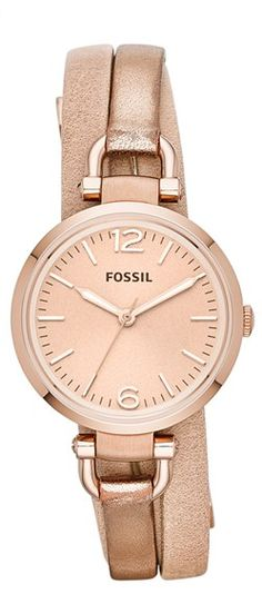 metallic wrap watch #fossil