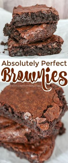 These chocolate brownies from the Soccer Mom Blog are the most perfect fudgey brownies you will ever eat! They are so moist and chewy! The whole family will love these amazing desserts. Try making this best brownie recipe this week!