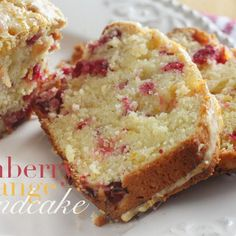 Dense and moist pound cake with orange, cranberry and cream cheese.