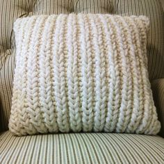 Fisherman's Rib Accent Pillow is a free pillowcase/cushion cover pattern that looks great and is easy to knit.