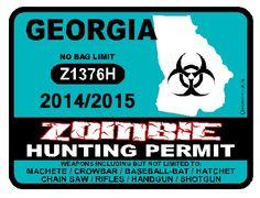 GEORGIA Zombie Hunting Permit