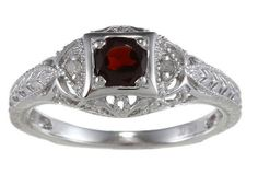1.25ct Genuine Garnet Diamond Ring Vintage Style in Sterling Silver