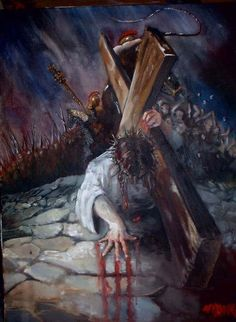 Jesus at the cross with soldiers in background. Prophetic art captures the agony he went through for us. Bible Pictures, Jesus Pictures, Easter Pictures, Jesus Art, My Jesus, Bible Art, Bible Scriptures, Christian Art, Christian Quotes