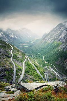 Trollstigen, Norway. The most famous mountain road, on its way down to the Isterdal. Quite an impressive accomplishment of civil engineering.