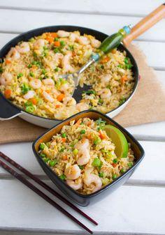 Fried rice, byt räkor mot minimajs för vegetarisk rätt.