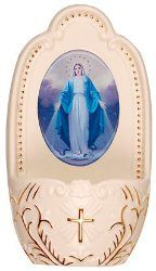 Holy Water Fonts, include a free Bottle of Lourdes water, Direct from the miraculous spring at the Grotto. Water Font, Catholic Gifts, Virgin Mary, Miraculous, Decorative Plates, Fonts, Porcelain, Bottle, Religion