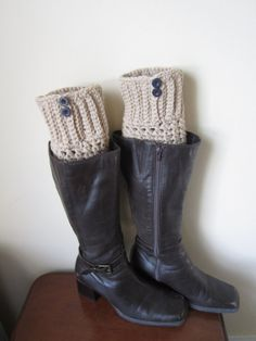 Boot socks  boot cuffs leg warmers Taupe or Tan by Elegantcrochets, $20.00