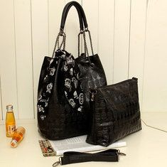 European Style Women Black Skull Scarf Lash Bag Handbag Shoulder Bag