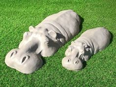 Outdoor Sculpture, Stone Sculpture, Sculpture Art, Garden Sculptures, Mother And Baby Animals, Rusty Garden, Resin Patio Furniture, Garden Gifts, Hippopotamus