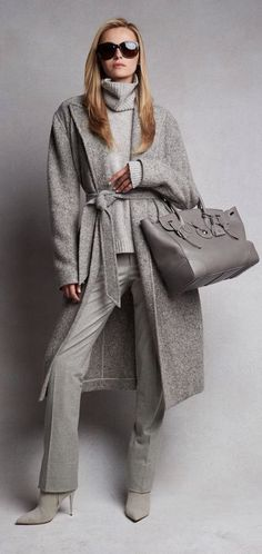 Effortless Luxe: pre-order the Fall 2015 collection crafted from sumptuous cashmere, suede, and satin in soft tonal hues women fashion outfit clothing style apparel closet ideas Mode Outfits, Casual Outfits, Fashion Outfits, Girl Outfits, Grey Fashion, Look Fashion, Street Fashion, Fall Fashion, Fashion Women