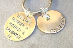 Mother Daughter Keychain gold key chain by natashaaloha on Etsy, $30.00