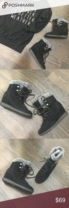NWOB Nine West Black Suede Fur Wedge Booties New without box. Nine West black genuine suede and gray faux fur wedge lace up booties. 2.5 inch wedge heel. Size 7.5. Nine West Shoes Ankle Boots & Booties