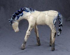 White Raku Horse 451