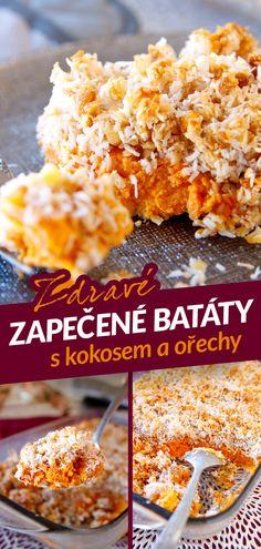 Sladké zapečené batáty jsou tradiční americký recept, který se pod názvem sweet potatoe casserole (pekáč sladkých brambor) peče na Den díkuvzdání, který je vždy 4. čtvrtek v listopadu. Skládá se z vrstvy batát a nahoře je křupavá zapečená krusta z kokosu a nejčastěji pekanových ořechů. Do klasického receptu ale patří velká nálož másla a hnědého cukru, takže jsem udělala pár změn, aby tahle sladká dobrota zapadla do fitness jídelníčku. Cereal, Recipies, Breakfast, Cake, Fitness, Food, Diet, Recipes, Morning Coffee