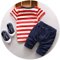 new summer tracksuit children cotton stripe clothing sets baby boys cartoon dog clothes