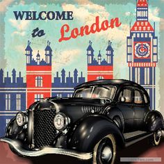 Free Vintage car with travel poster vector set 04  vector download