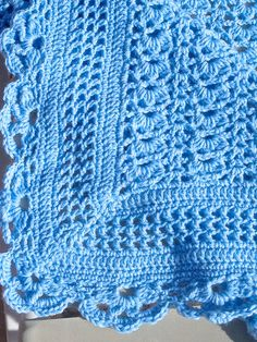 """SALE! Crochet Shells Baby Blanket,  Blue baby Yarn Used in this handmade VINTAGE STYLE, Shells Design with 3"""" Border, Great Baby Gift"""