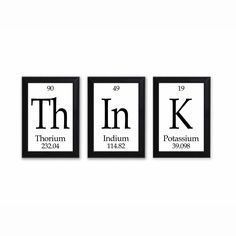"Think Periodic Table Framed 3 Piece Wall Plaque Set Periodic Table Framed 3 Piece Wall Plaque Set Each Plaque 5"""" x 7"""" - Geeky Home Decor"