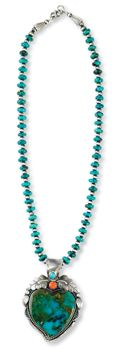 """Turquoise Rondelle Beads   18"""" l; pendant sold separately 11168-1 $150.00     Turquoise Whacky Heart Pendant   1.75"""" w x 3.25"""" l; .5"""" bail $360.00"""