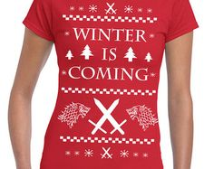 Winter Ugly Christmas Sweater Party dire wolf funny stark - women's T-shirt- apparel clothing junior fit - IIT360